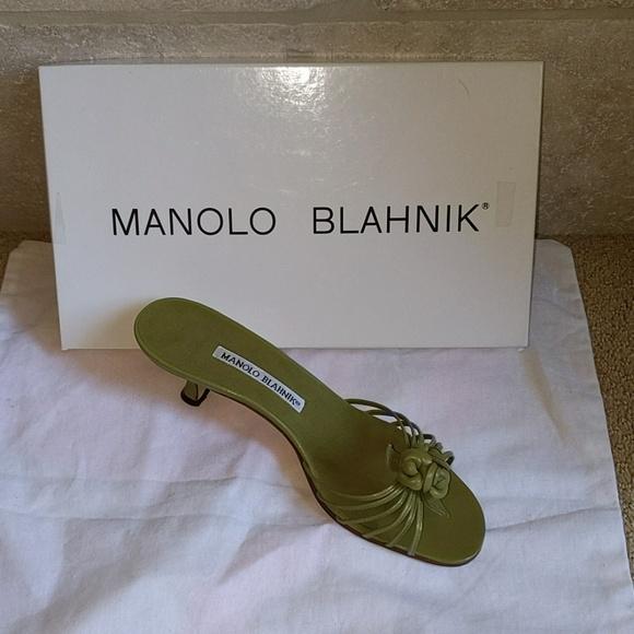 72fee0f313651 Manolo Blahnik Shoes | Green Kitten Mules Wstrapsflowers | Poshmark
